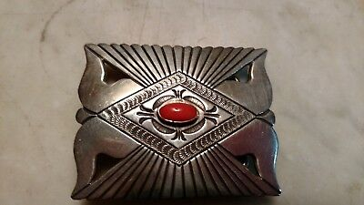 Navajo Lee Charley Sterling Silver Belt Buckle Coral Center Stone