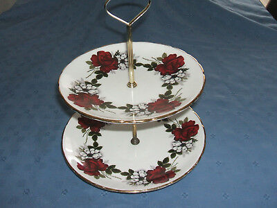 vintage sutherland fine bone china 2 tier cake stand rose pattern