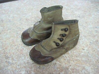 Antique/Vintage Brown Leather Babies~Doll High Top Button Shoes