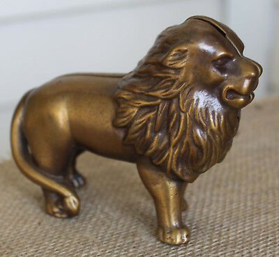 "Vintage Antique Brass Cast Lion Bank - Approx. 5"" x 3 3/4"""
