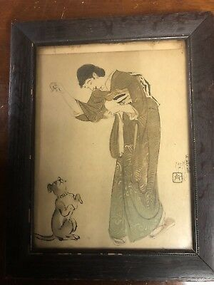 Antique 1920s Japanese Woman And Dog Print In A Woodward And Lothrop Frame
