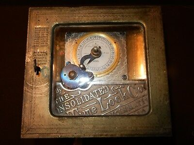 Very Rare Early Safe Timer The Consolidated Time Lock Co Pat. Feb. 1876 It Works