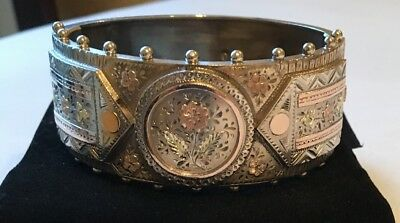 Antique/Victorian Sterling Silver Yellow &Rose Gold Hinged Bangle Bracelet 1884