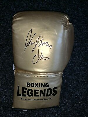Tommy Hearns The Hitman Hand Signed Boxing Glove AFTAL PHOTO PROOF COA