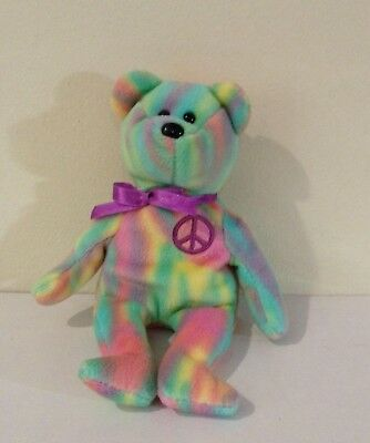 632fd322708 TY BEANIE BABY - PEACE the Ty-Dyed Bear (8.5 inch) - MWMTs Stuffed ...