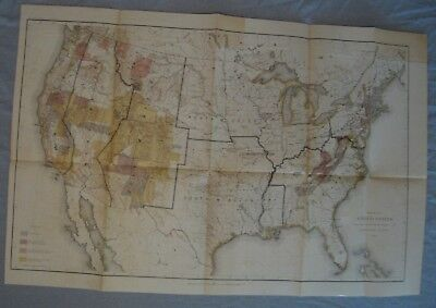 Original 1884 Geographic Survey Map of the United States Approx. 20X30 inches