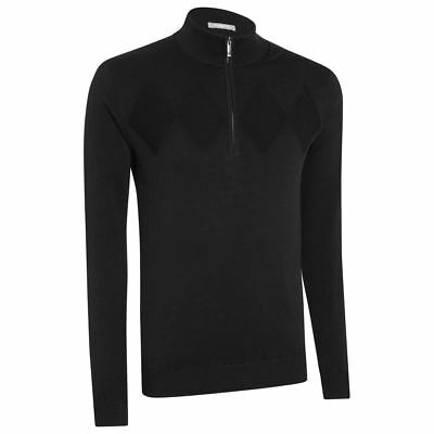 Ashworth Chest Diamond Thermal Lined Wind Sweater Mens Golf Pullover Black Small