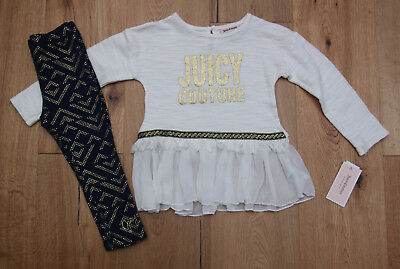 Juicy Couture Toddler Girls Top & Leggings Set ~ Ivory, Navy Blue & Gold ~