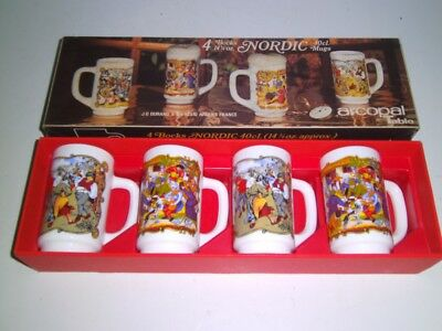 Vintage JG Durand ARCOPAL 4 NORDIC MUGS France New in Box 1970's