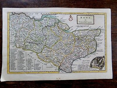 1724 Herman Moll Kent Old Antique Map Vignette Dover Castle London Canterbury