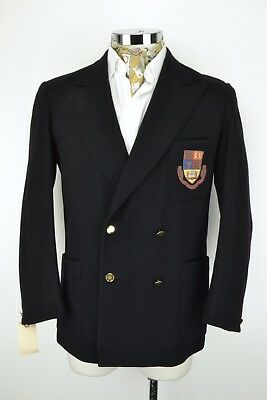 "40"" Regular Imperial College Blazer Jacket 1950s Navy Blue Double Breasted"