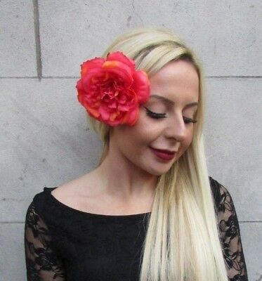 Large Coral Tropical Red Peony Rose Flower Hair Clip Fascinator Wedding 6508