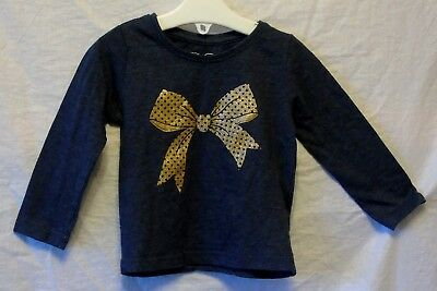 Baby Girls YD Primark Blue Gold Sparkly Bow Long Sleeve Top Age 9-12 Months