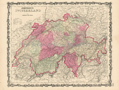 Switzerland Suisse Schweiz Antique Map Johnson 1864 Original