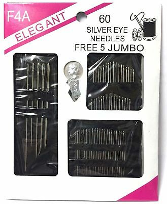 60 Silver Eye Needles Sewing Pack Hand Sew Threading Upholstery Repair Kit UK