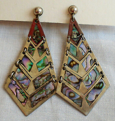 Articulated Dangle Screwback Earrings Taxco Sterling Silver & Abalone #2