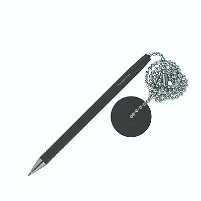 Secure Counter Pen With Adhesive Base & Metal Chain - Black Ink - Medium Point