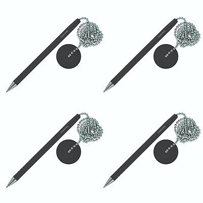 4 Pack - Secure Counter Pen With Adhesive Base & Metal Chain - Black Ink