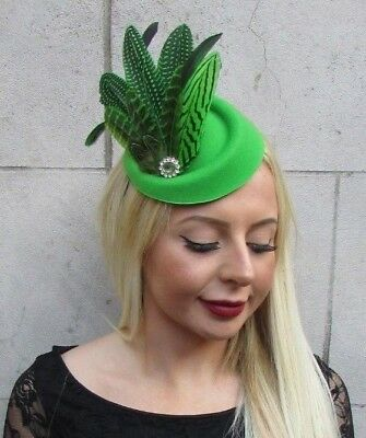 Emerald Green Pheasant Feather Pillbox Hat Fascinator Races Hair Clip Vtg 6514