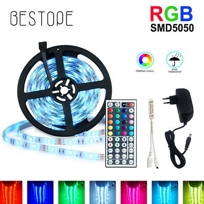 5/10M 5050 RGB led SMD Flexible Light Strip+IR 44Key+Power SuppyTape Strip Light