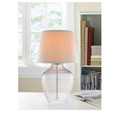 Catalina Lighting Accent Table Lamp 14-Inch Smoked Glass Body White Fabric Shade