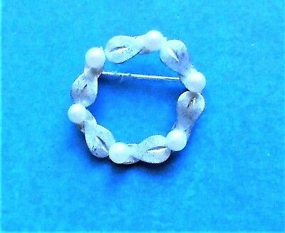 Van Dell Sterling Silver Circle Pin Brooch Faux Pearls