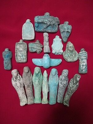 Ancient Egyptian Antiquities rare 18 Amulets ( 1816 BC)