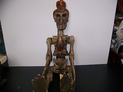 Antique Hand Carved Painted Skeleton Dios De La Muertos Guatemala 1930'S-40'S