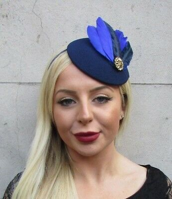 Royal Navy Blue Gold Feather Pillbox Hat Fascinator Races Wedding Hair Vtg 6516