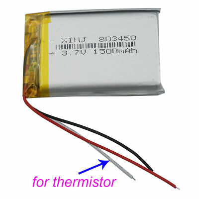 3.7V 1500 mAh 3 wires thermistor Polymer Li Battery 803450 For PAD GPS Camera