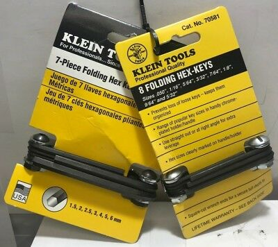 Klein Tools 70581/70582 8/7 Key Inch Folding Hex Key Sets Metric and Standard