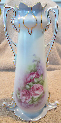 """7 6/8"""" High Victorian Styled Double Handle Rose Decorated Bud Vase"""