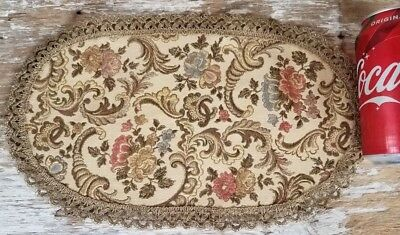 """VTG Tapestry Gold Metallic Lace Doily Doll House Oval Rug Floral Beige 7.5x12.5"""""""