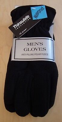 Gloves Mens Black Polar Fleece 40 Gram 3M Thinsulate Waterproof Small Medium
