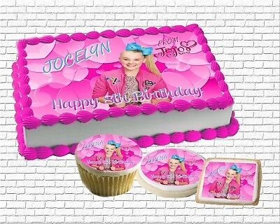 Magnificent Pink Jojo Siwa Edible Birthday Cake Topper Paper Sugar Sheet Funny Birthday Cards Online Sheoxdamsfinfo
