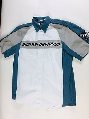 Harley Davidson Genuine Motor Embroidered Color Block On Down Shirt Sz M