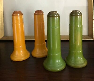 Two Pairs of Bakelite Salt and Pepper Shakers - Green and Butterscotch