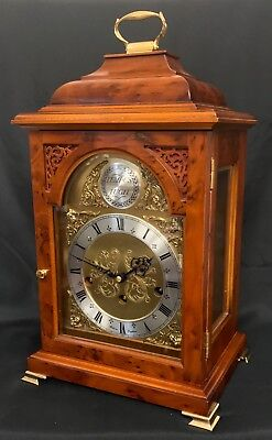 Georgian Style COMITTI LONDON Burr Yew Triple Chime Bracket Clock NIGHT SHUT OFF