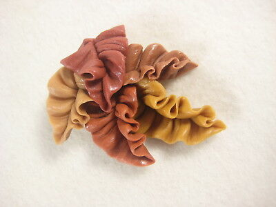 Vintage Japanese Hand Made Signed  Resin Clay Pin Brooch Fall Leaves