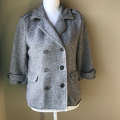 Cabi Soft Grey Military Style Casual Fall Jacket Size Medium Anchor Buttons