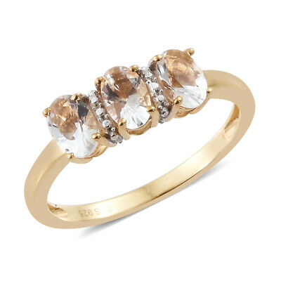 Petalite 14K Yellow Gold Over Silver Trilogy Wedding Bridal Ring Gift
