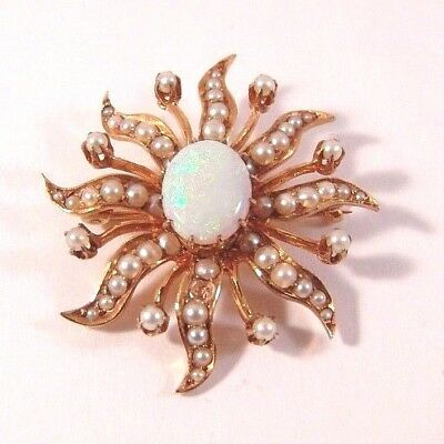 Antique Edwardian 14K Yellow Gold Seed Pearl & Opal Cabochon Brooch Pin Star Sun
