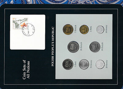 Coin Sets of All Nations Poland w/card 1978-1986 UNC 10 Zlotych 86 1,2,5,20 1985