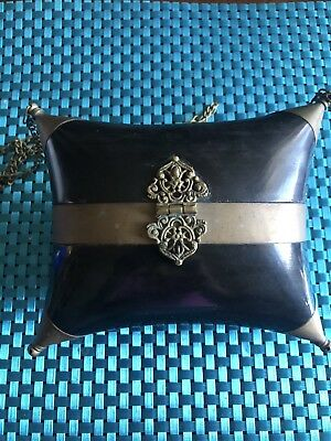 Vintage Hard Shell Clutch Purse Black With Gold