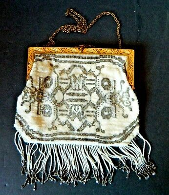 1920's flapper micro bead purse with gilded frame, made in France