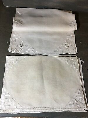 6 ecru Vintage Italian linen placemats and runner embroidery lace