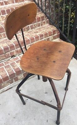 Vintage 1920s or 30s Industrial Drafting Chair, Steam-bent Wood, Rusty w/Patina
