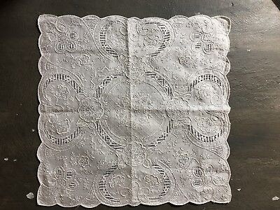 Vintage hand embroidered with openwork linen wedding bridal hankie