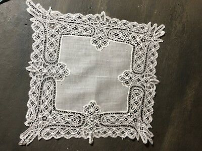 Vintage white wedding bridal  hankie hand made lace