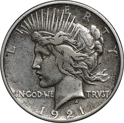 1921 Peace Silver Dollar $1, Toned F to VF, Lightly Cleaned